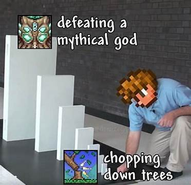 This is Terraria, a game that's receiving its final update on May 16th and has an unofficial contest going on right now. Click on my pf to see it (I'm a terrible person) - meme