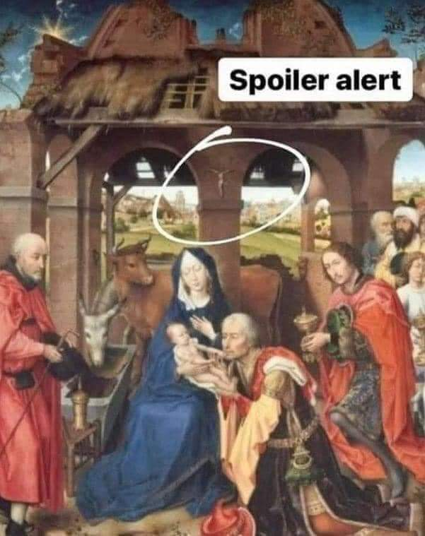 Baby jesus be like: Bruh' - meme