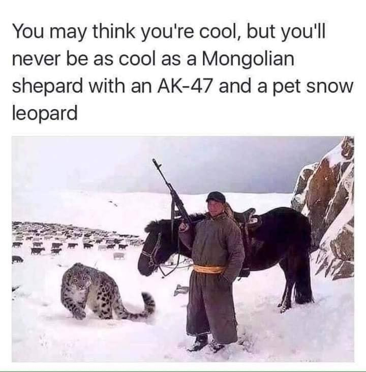 His balls must be freezing...hanging in the snow like that - meme