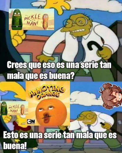 The giga Chad annoying Orange VS the giga super Virgin pickle y maní - meme