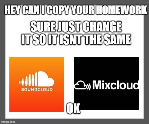 soundcloud vs mixcloud - meme