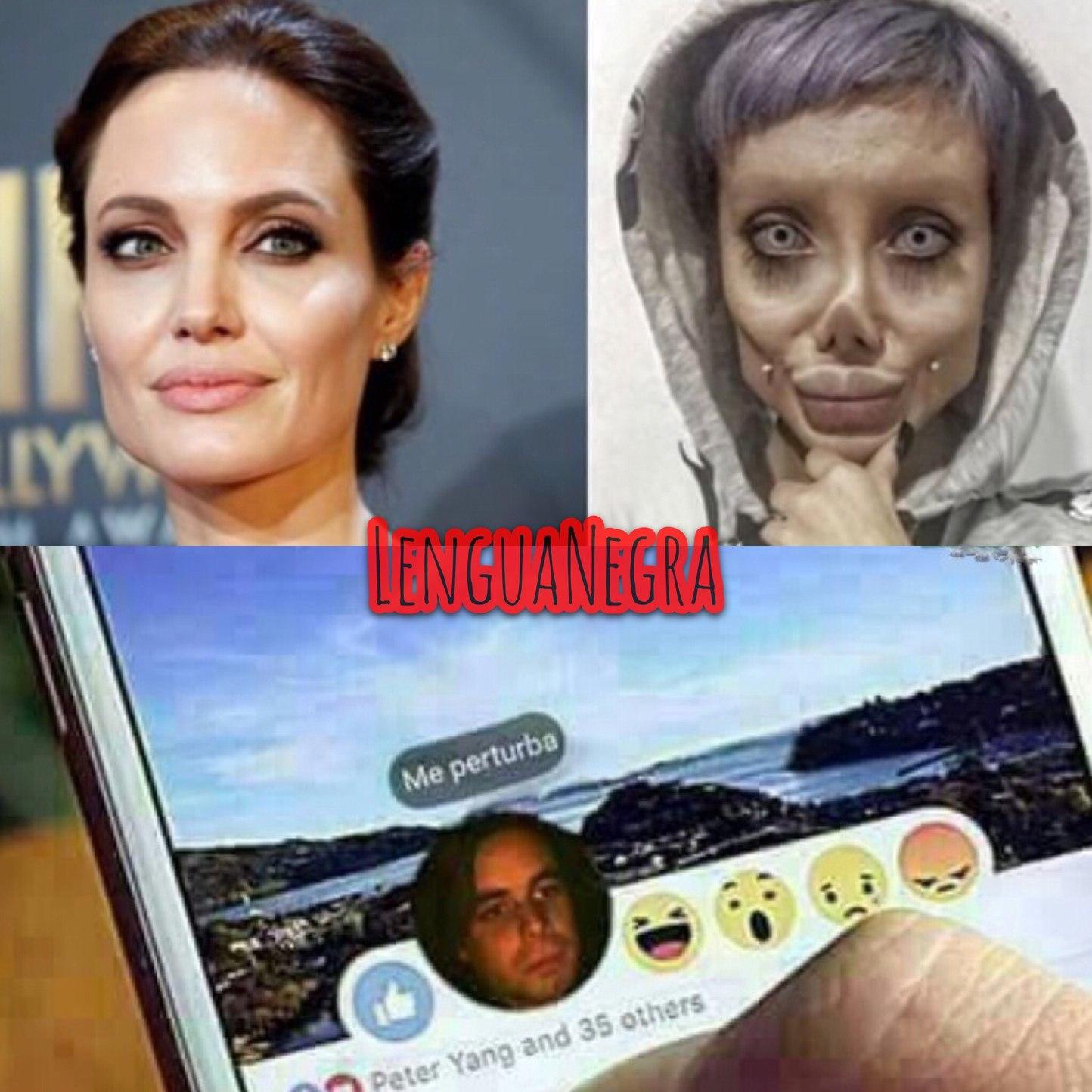 se opera para parecerse a Angelina wtf? - meme