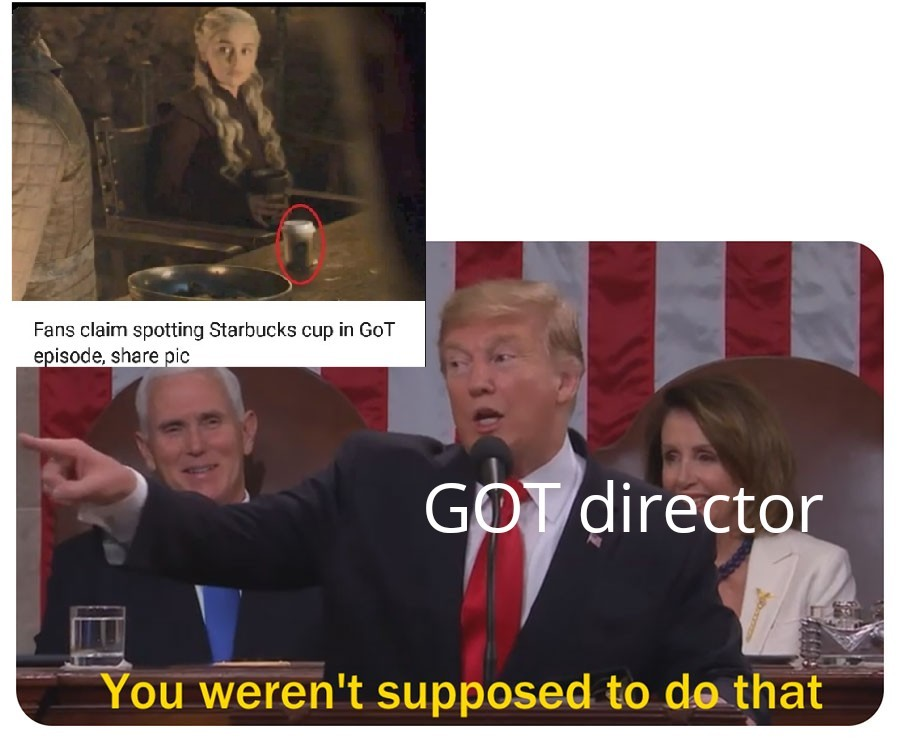 Fan claims spotting error in game of thrones - meme