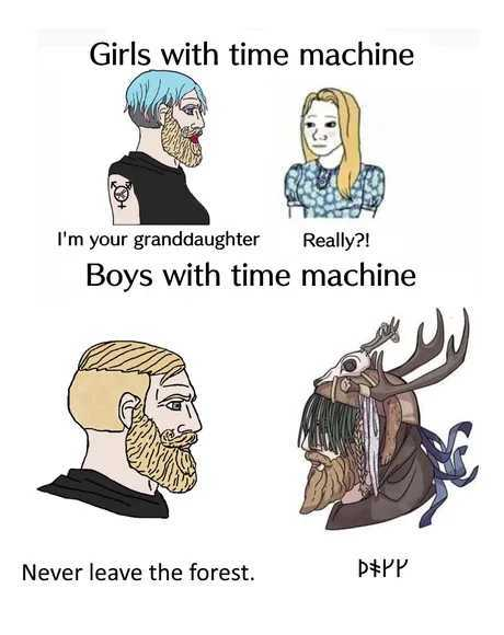 Its all fun and games till forest starts speaking in runes - meme
