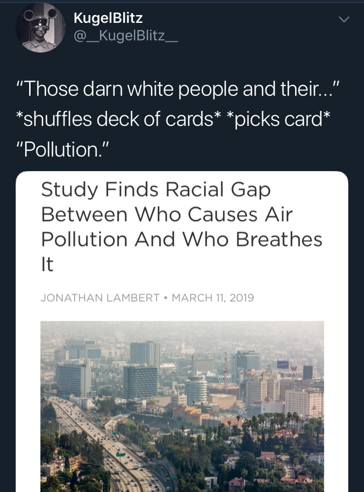 Every other comment pollutes the earth by being white - meme