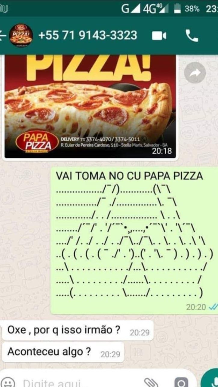 cara coitado do Papa Pizza SIGO DE VOLTA——> - meme
