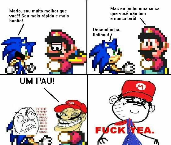 Mario azul trollado por Mario Vermelho - meme