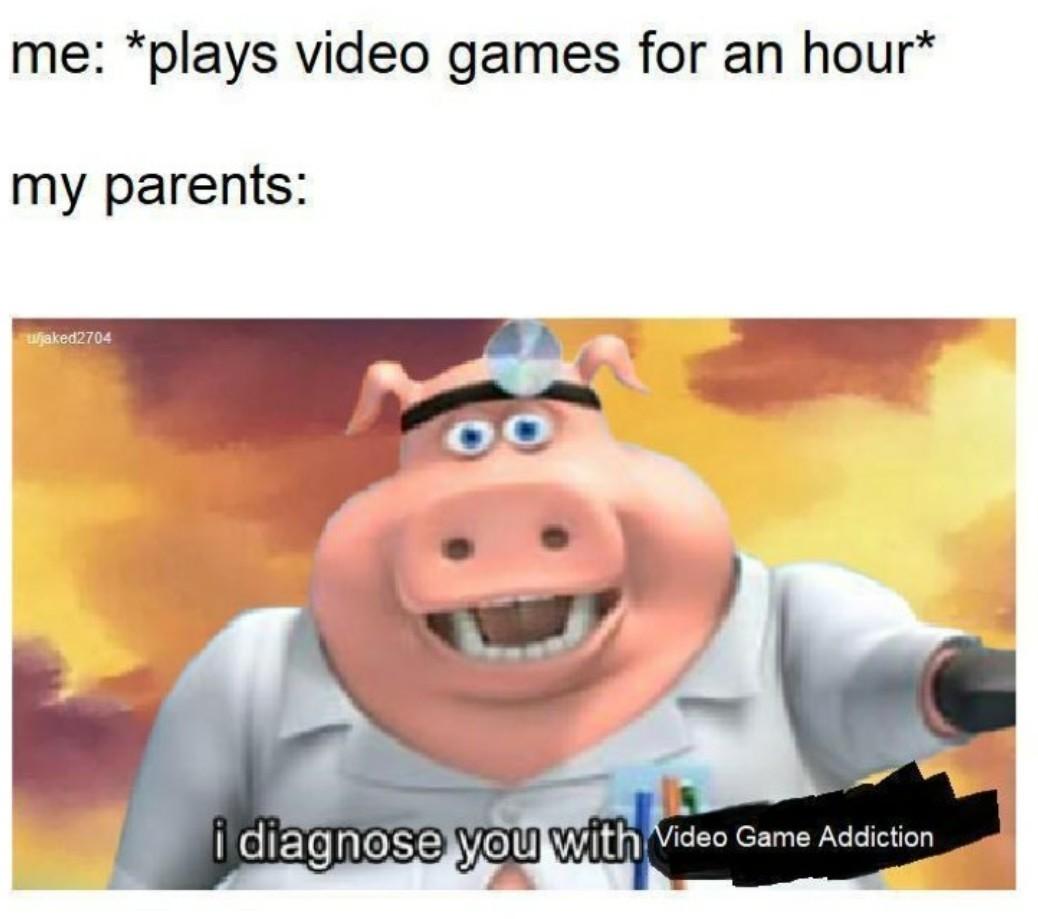 Vidya game addiction - meme