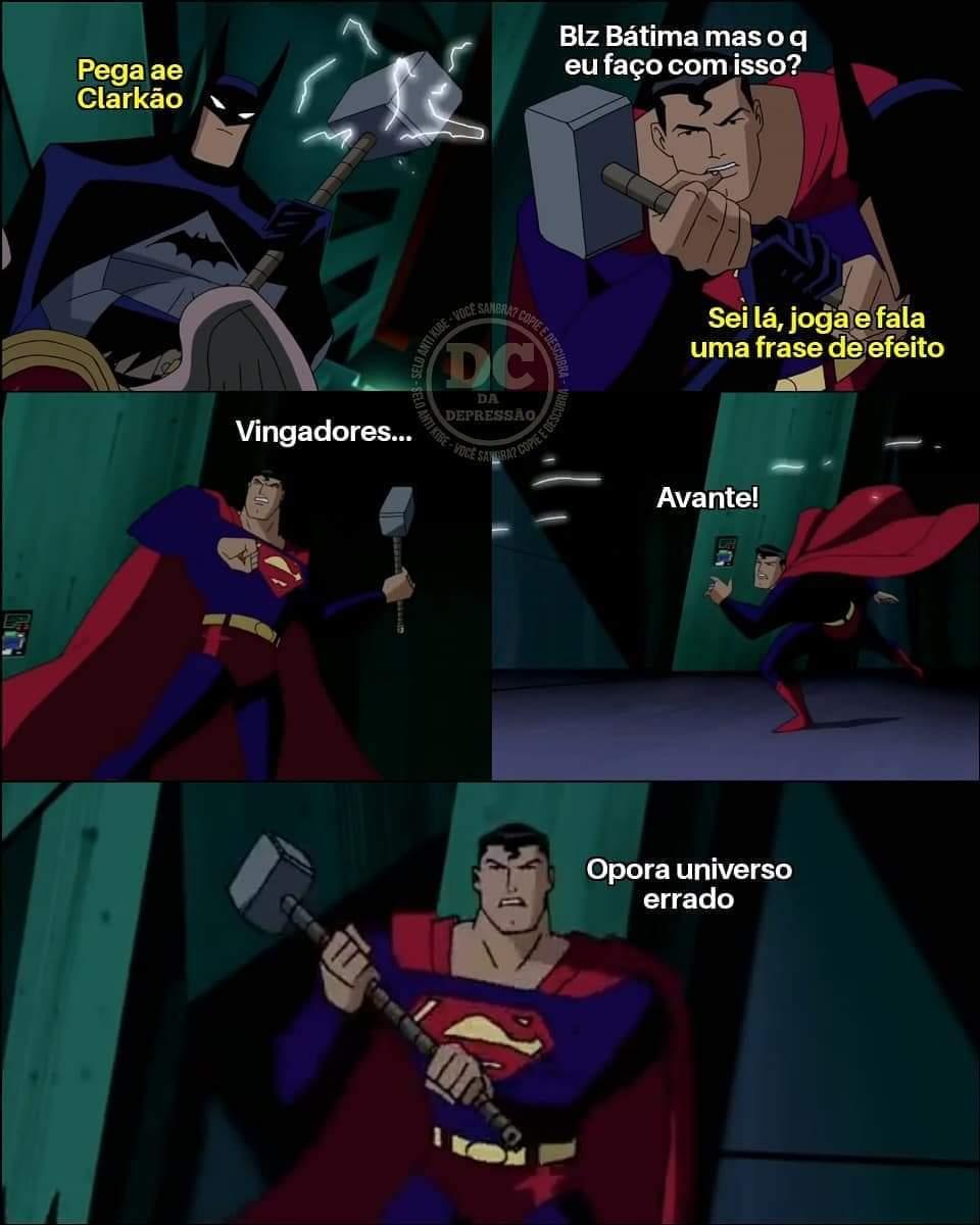 Ele é da Marvel e achou q tava na DC supehomi burro - meme