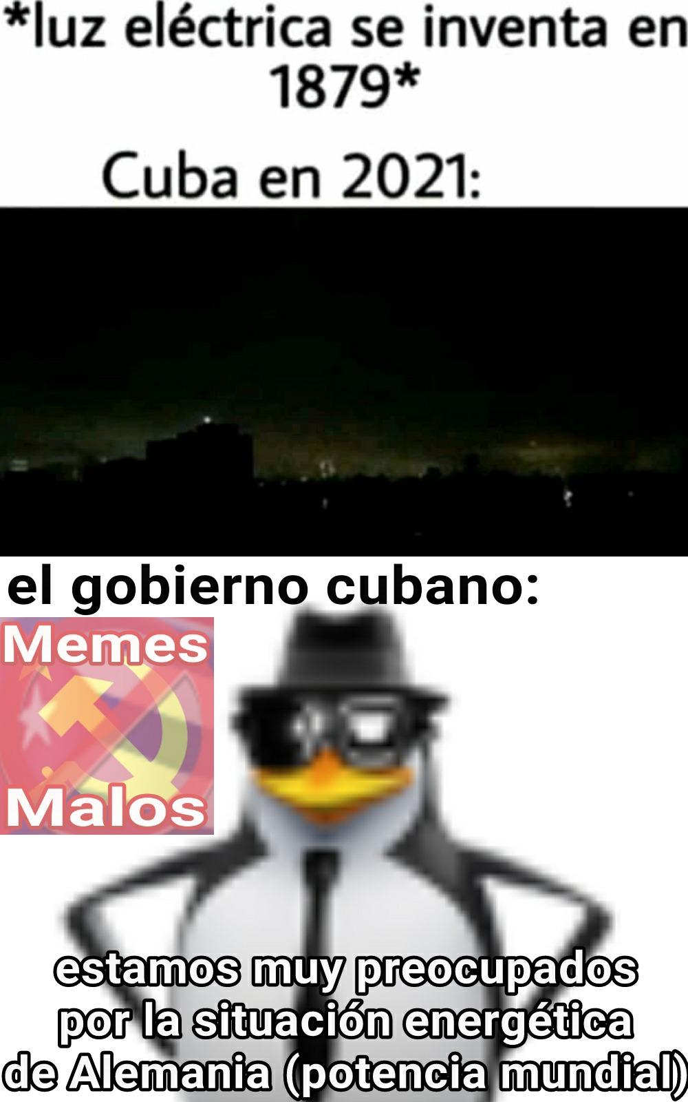 Cuba jodida con la electricidad y nuestro gobierno de mierda preocupado por la situación energética de Alemania - meme