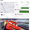Trad: mon p*tin de Uber est à pied puis son Uber lui confirme cela et lui dit qu'il marche vite