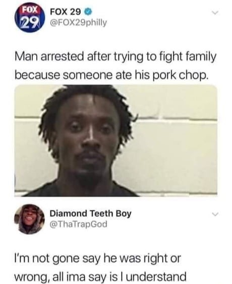 You don't have the right to eat my pork chop - meme
