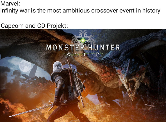 MHW + Witcher 3 - meme