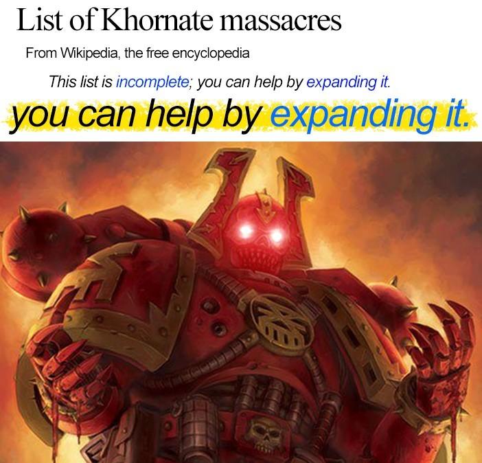 The blood god demands blood - meme