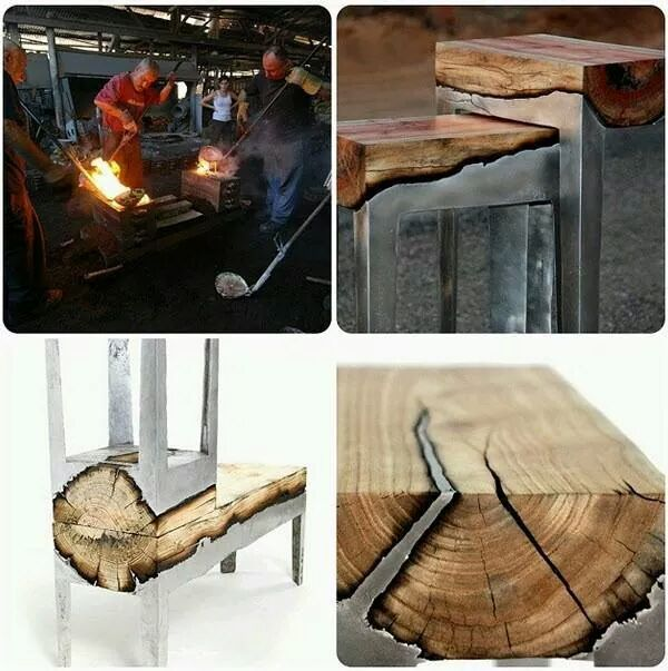molten metal poured over wood to make badass furniture. also my 50th meme