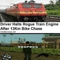 Successfully followed the damn train