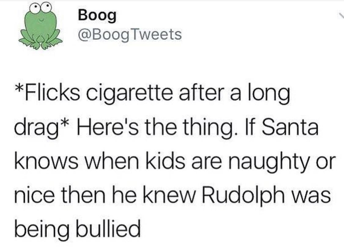 Santa has questionable ethics - meme