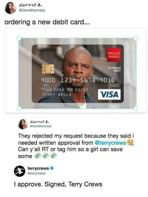 Terry Crews credit card - meme