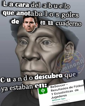 La cara del abuelo que anotaba los goles de Messi - meme