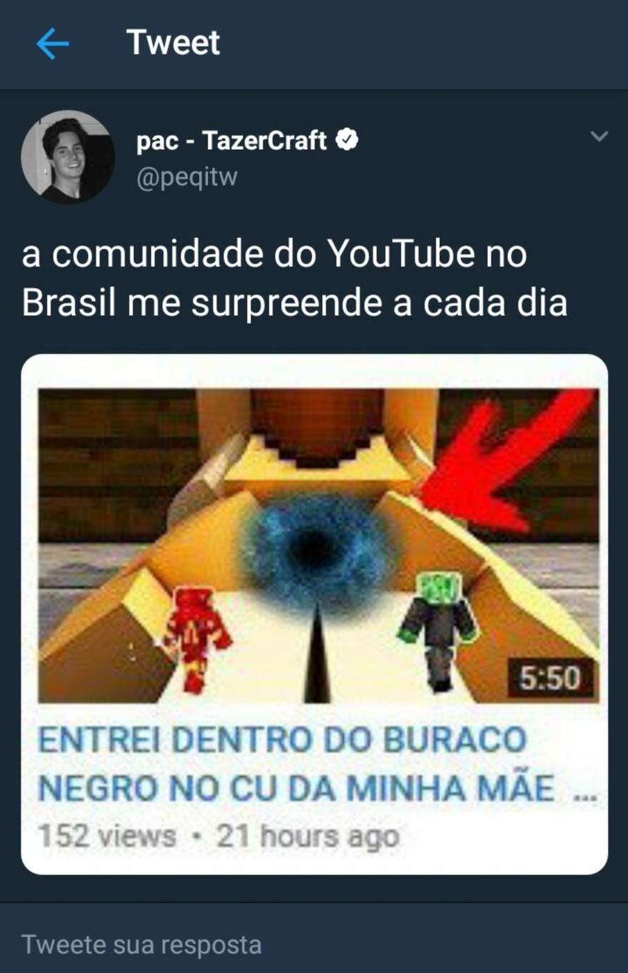 Pac o único YouTuber q é raiz no Minecraft;-; - meme