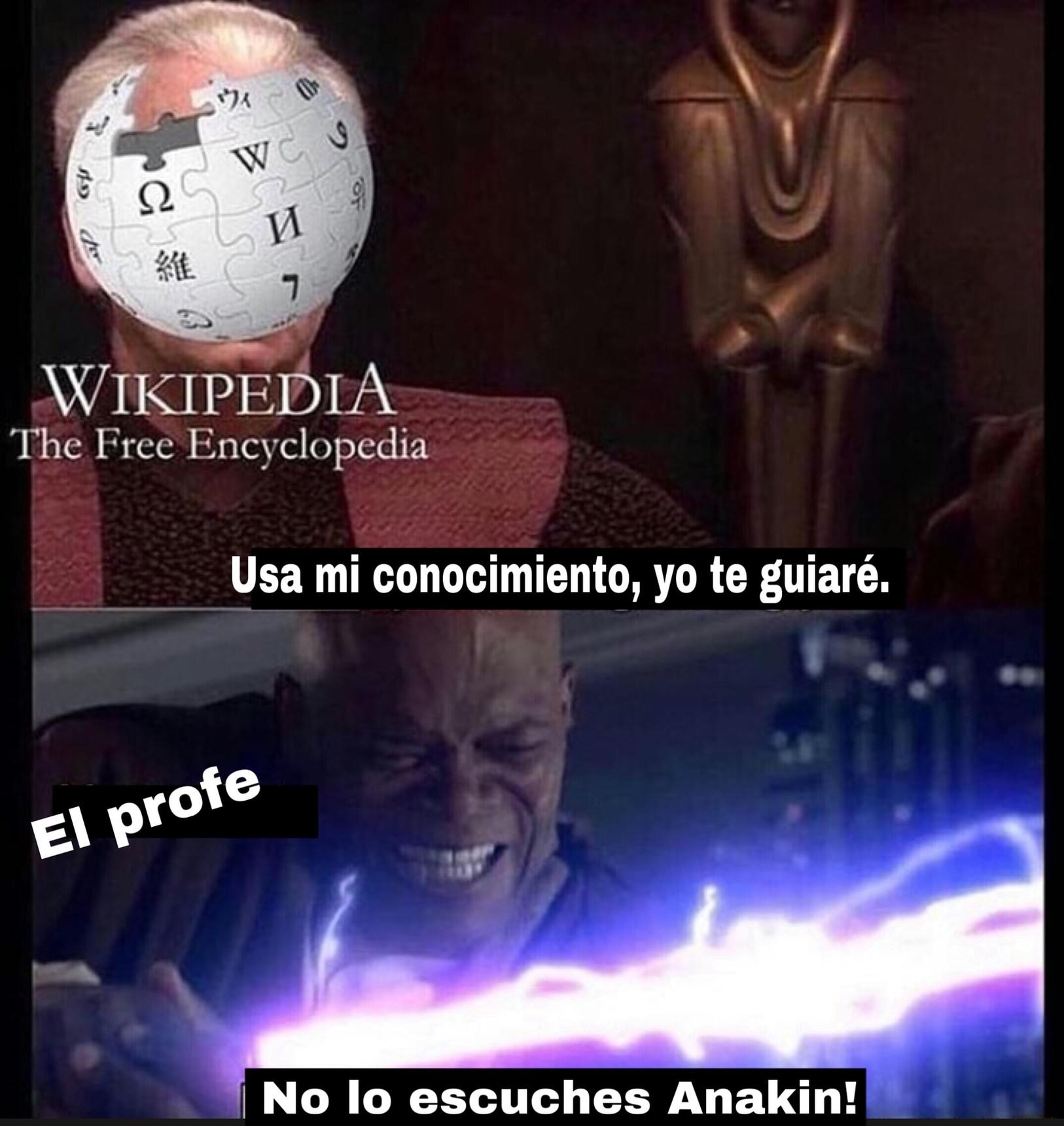 Logre convencer al profe de que no me bajara dos ptos por usar wikipedia - meme