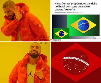Nossa bandeira ñ será vermelha - meme