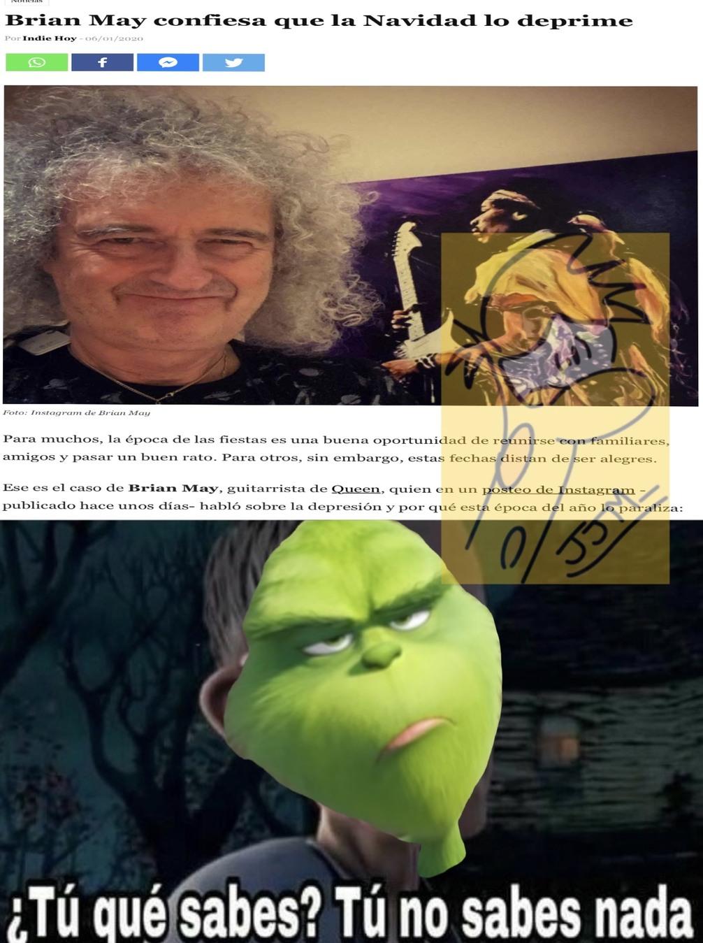 Como el guitarrista de Queen se robo la navidad - meme