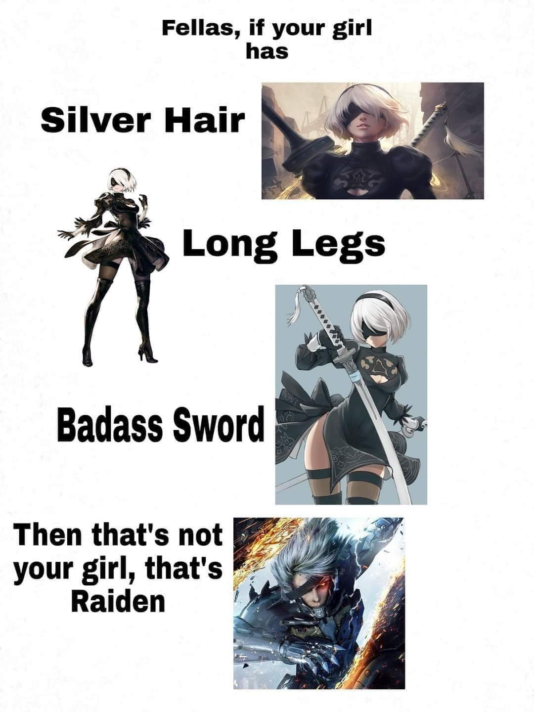 Also high heels, thicc butt and no penis - meme