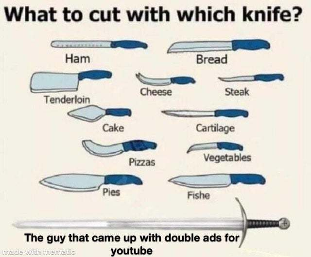 What to cut with each knife - meme