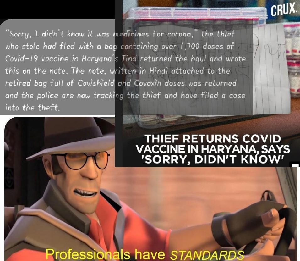Thief Returns Covid Vaccine In Haryana India - meme