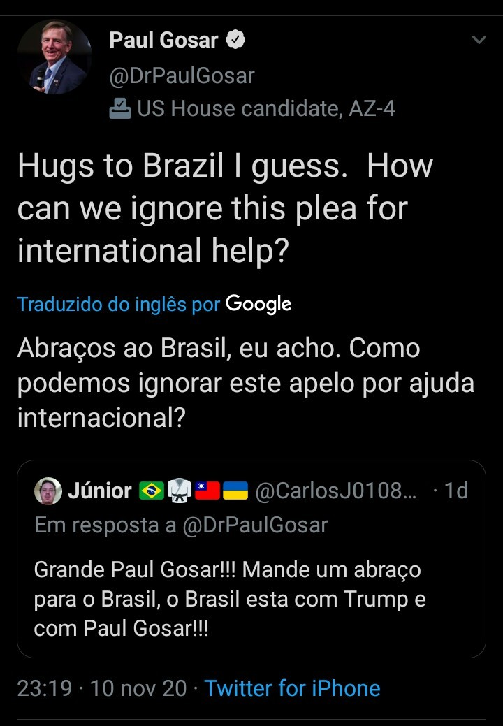 step-president Trump is on Paul gosar em Bolsonaro's face - meme