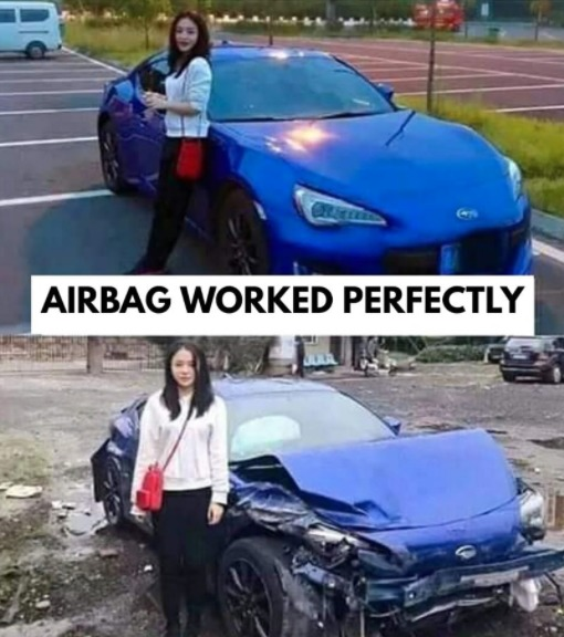 there is absolutely no correlation between the women and the crash - meme