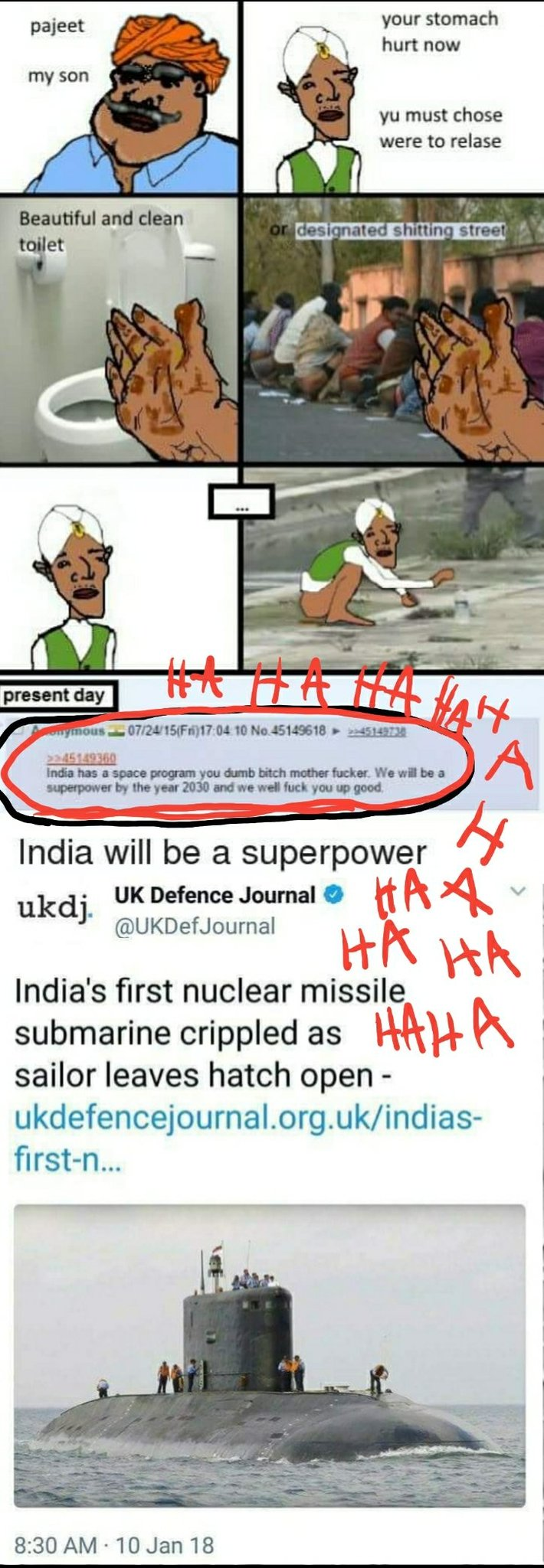 India will be a superpower by the year 2030 and we well f u up good hahahaha - meme