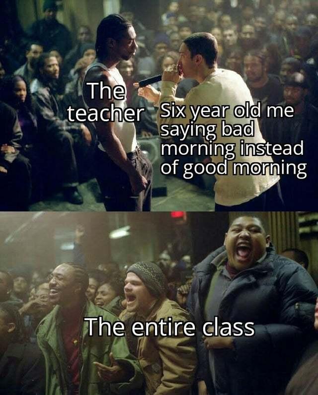 My teacher was very, very patient - meme