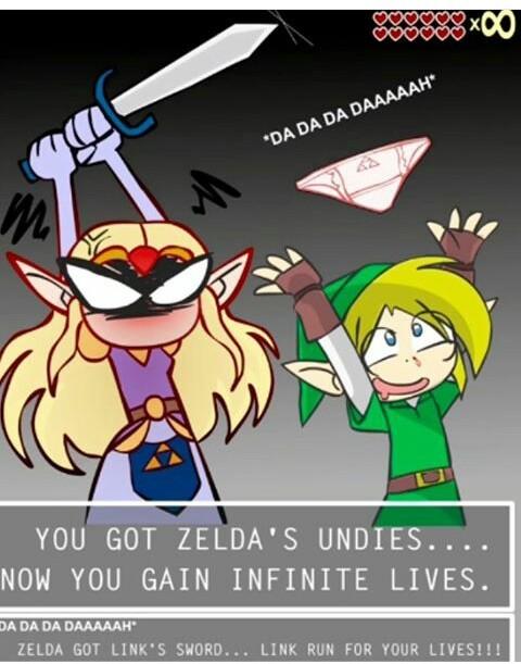 Vous obtenez les dessous de Zelda vous gagnez les vies infinies . Zelda gagne l'épée de link , Link cours pour tes vies - meme