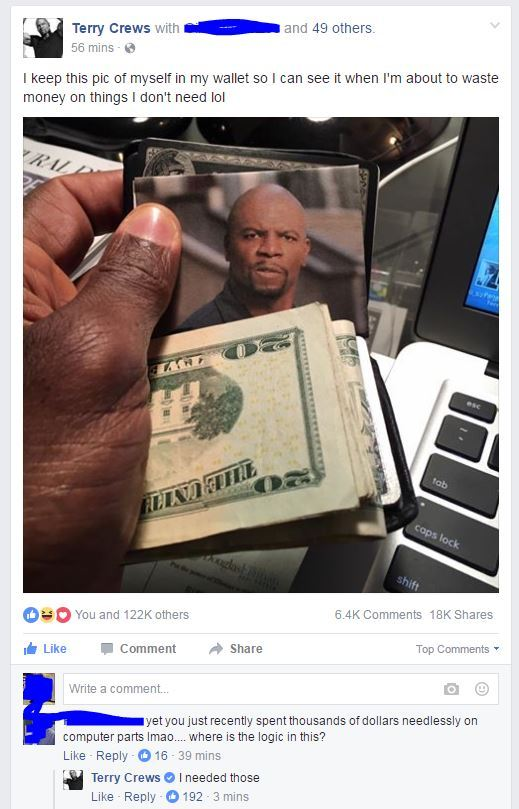 Even Terry Crews is scared of Terry Crews - meme