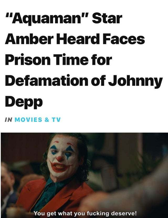 Amber Heard faces prison time for defamation of Johnny Depp - meme