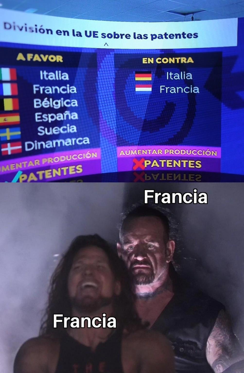 Como llevarán las relaciones con las patentes Francia vertical y Francia horizontal? - meme