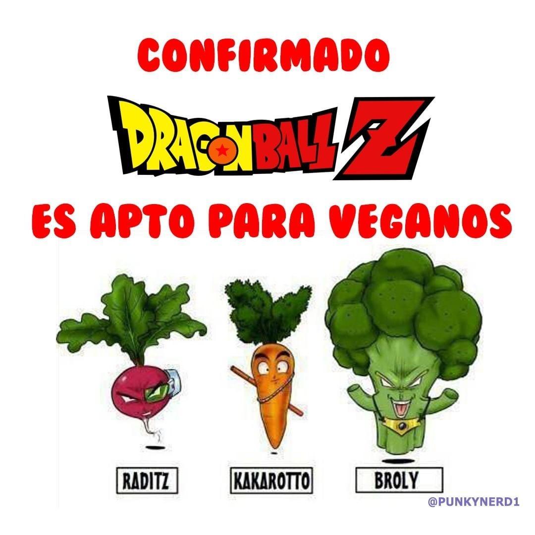 Ni sabia que DBZ era para Veganos - meme