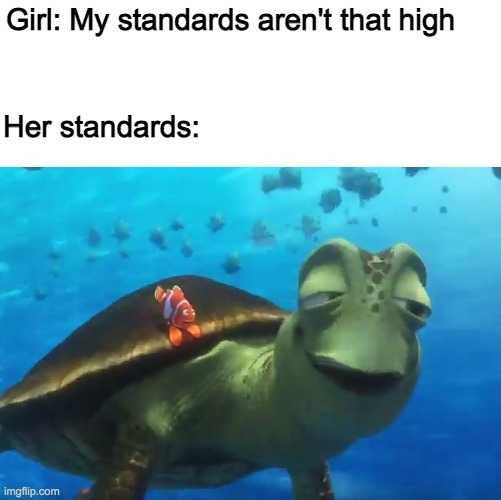 My standards aren't that high - meme