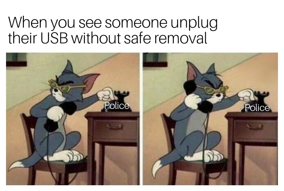 Always safely remove your driver - meme