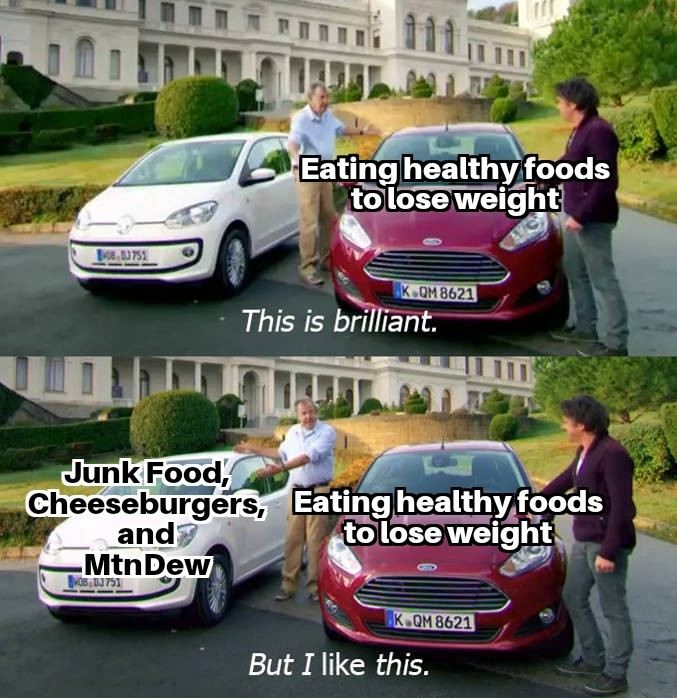 I like junk food more than I like working out and exercise - meme