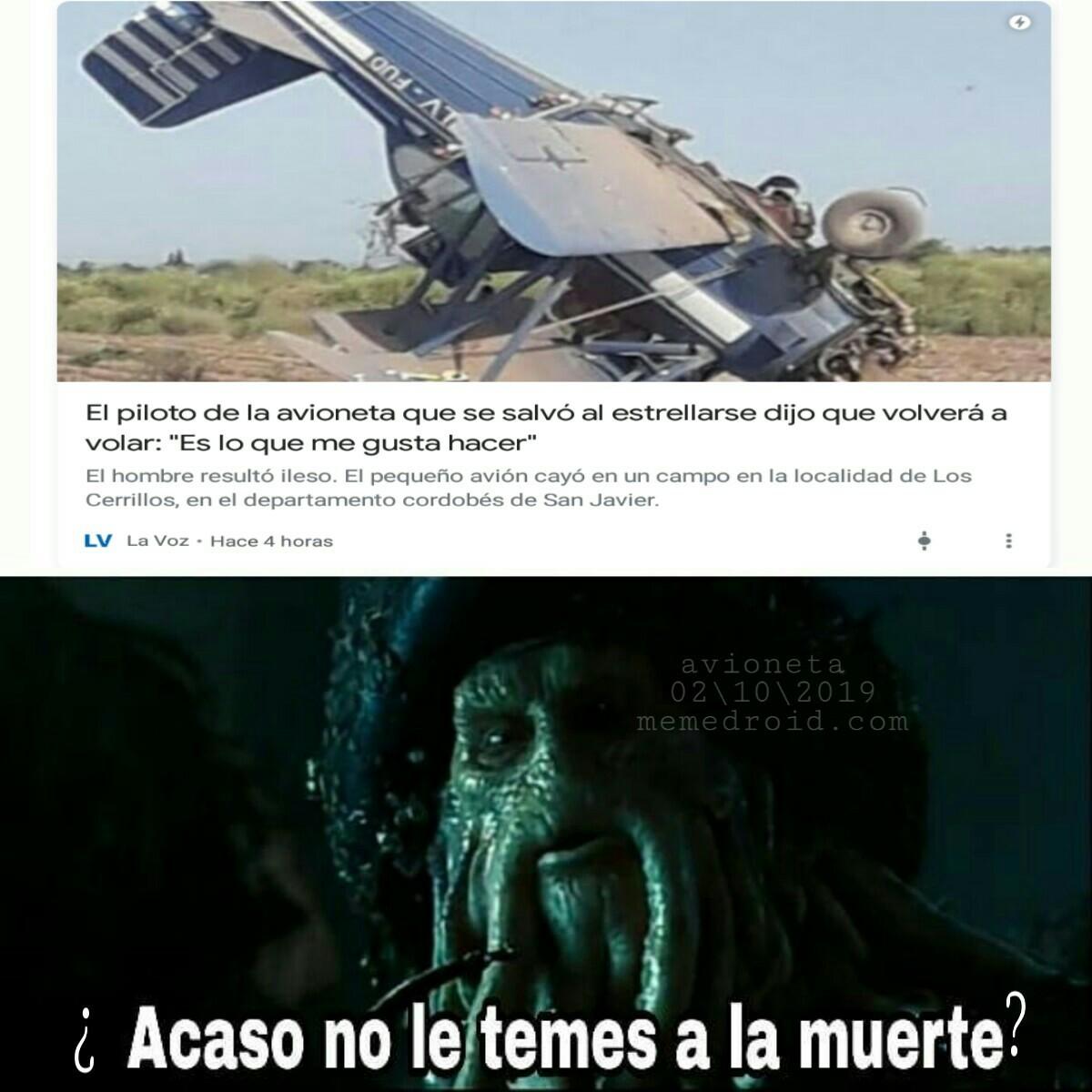 F por esa avioneta - meme