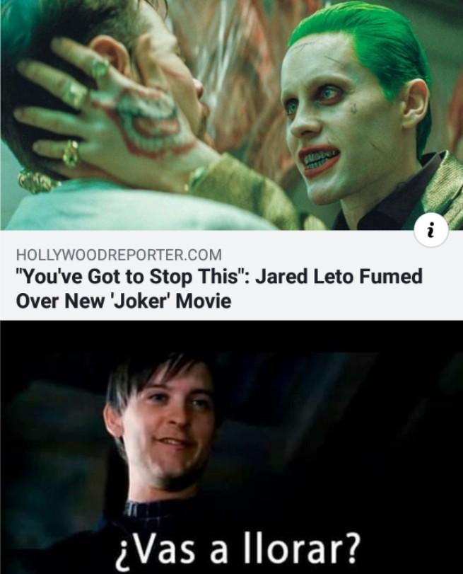 jared leto quizo hacer que cancelaran joker porque queria una protagonidaza por el xd - meme