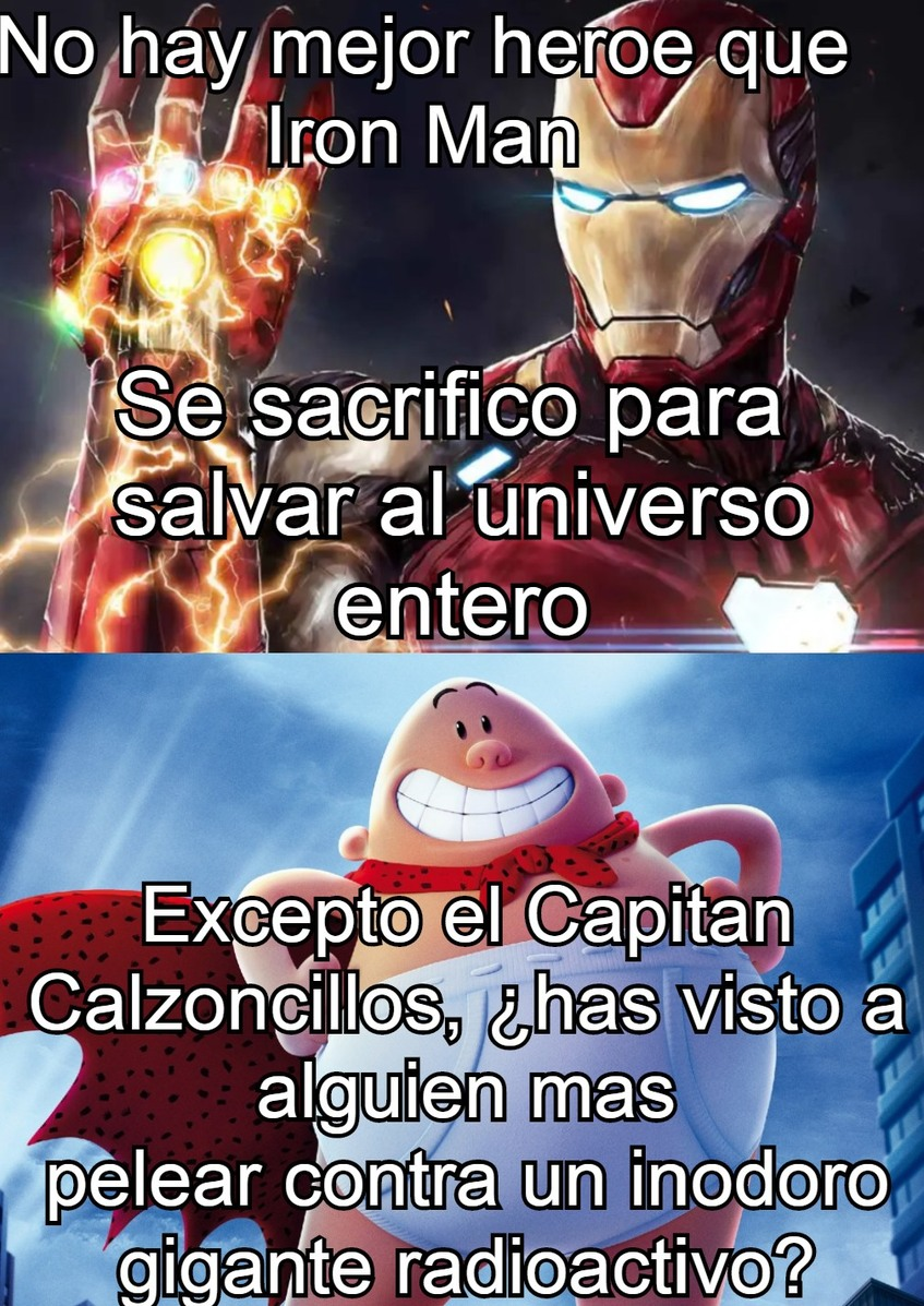 Capitan Calzoncillos 1, Marvel 0. - meme