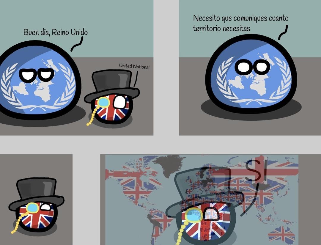 Contexto: Todos los territorios que estan con la bandera de reino unido son los territorios que el Reino Unido Invadió/Intento invadir - meme