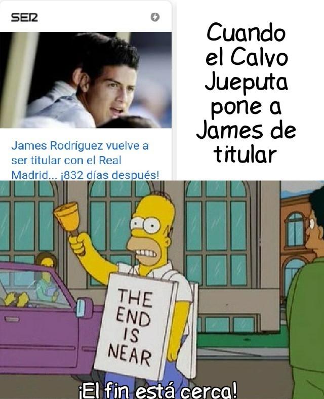 Calvo jueputa mete a James - meme