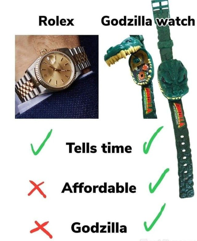Rolex vs Godzilla watch - meme