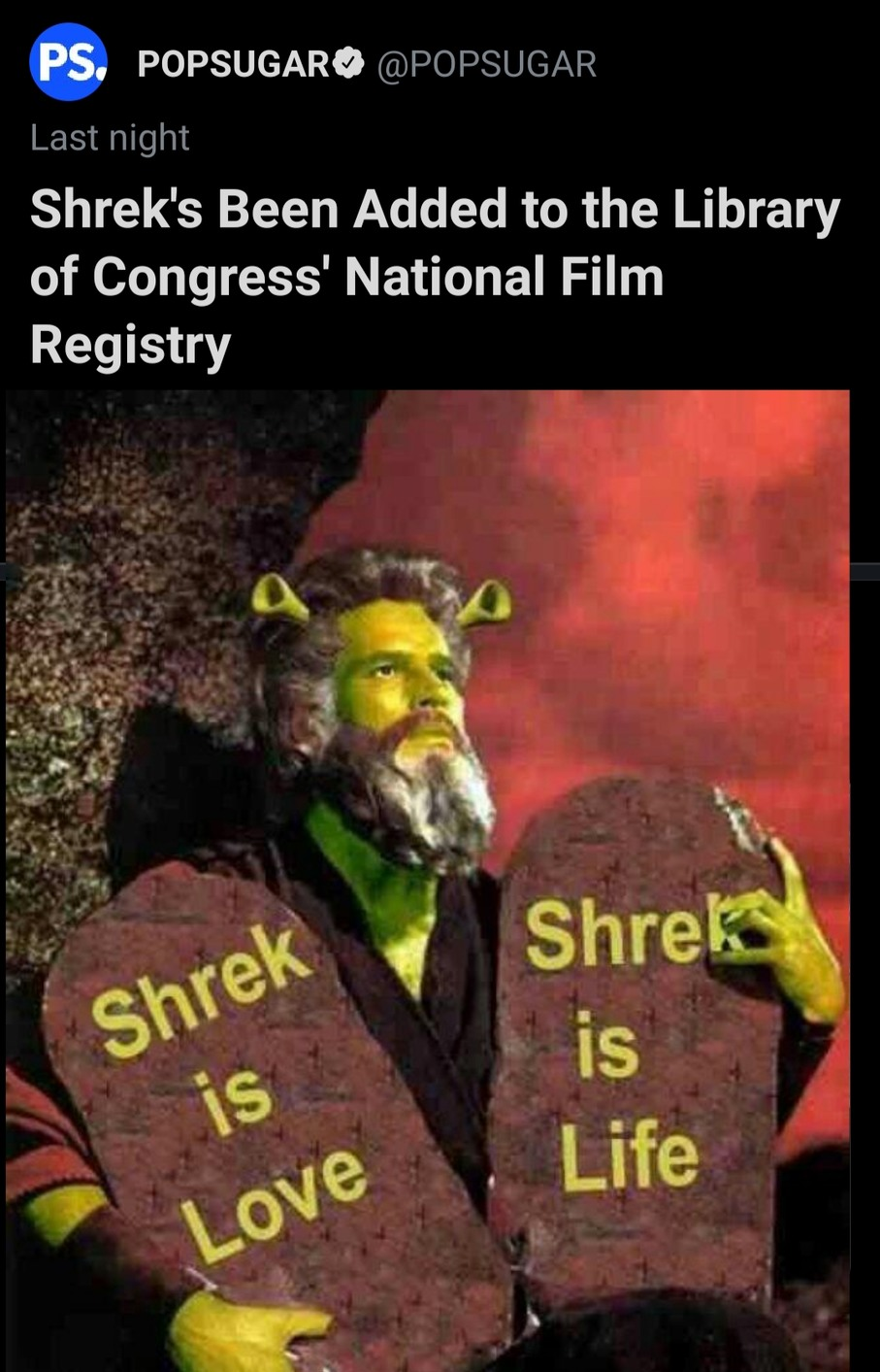 Then shrek will be added to the bible. - meme