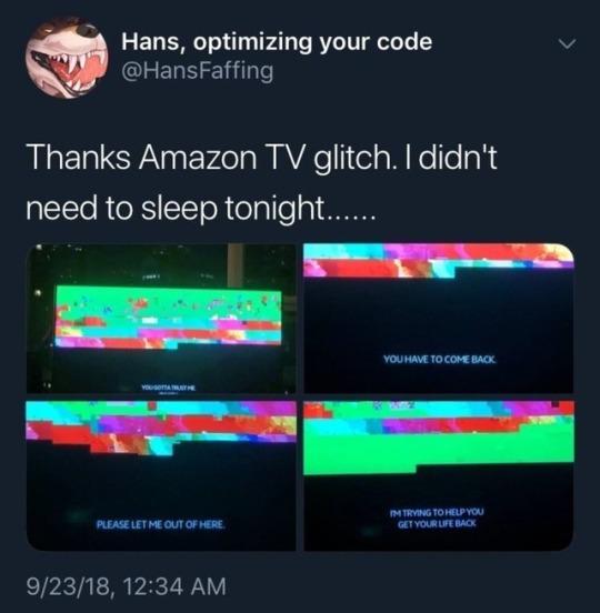 Amazon TV glitch - meme
